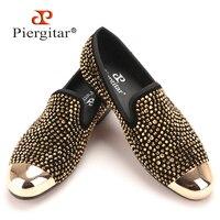 Новый золотой носком и золотой кристалл мужские лоферы ручной работы модные мужские кожаные тапочки мужские вечерние и торжественное плат