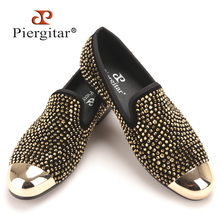 New gold toe and gold crystal handmade men loafers men fashion leather slippers men party and wedding dress shoes men's flats