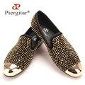 Nueva toe oro y oro cristal hechos a mano los hombres holgazanes hombres zapatillas de cuero de moda los hombres del partido y de la boda zapatos de vestir de los hombres pisos