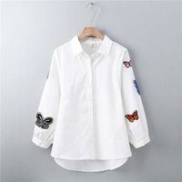 Cute Flower Embroidery Blouse Shirt Women Casual Long Sleeve Blouse Female Blusas Spring Autumn Embroidered Tops