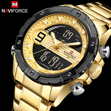 NAVIFORCE Men Stainless Steel Watch Analog Digital LED Watch