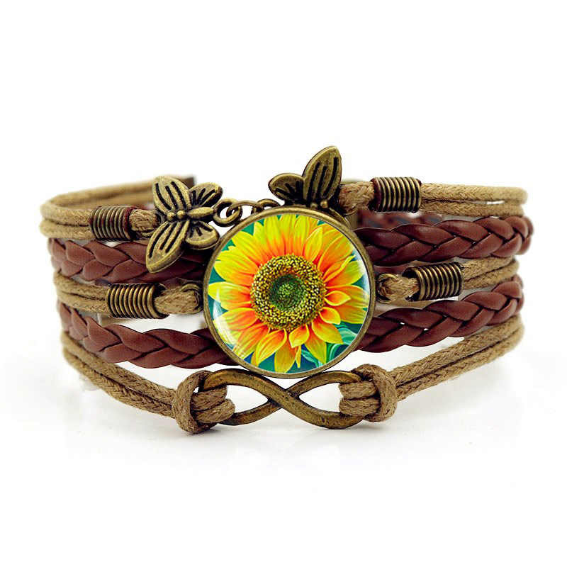 Armbanden Voor Vrouwen جديد 2019 بسيطة الأزياء الرجال عباد الشمس الوقت جوهرة سوار متعدد الطبقات الحياكة اليدوية مجوهرات اكسسوارات