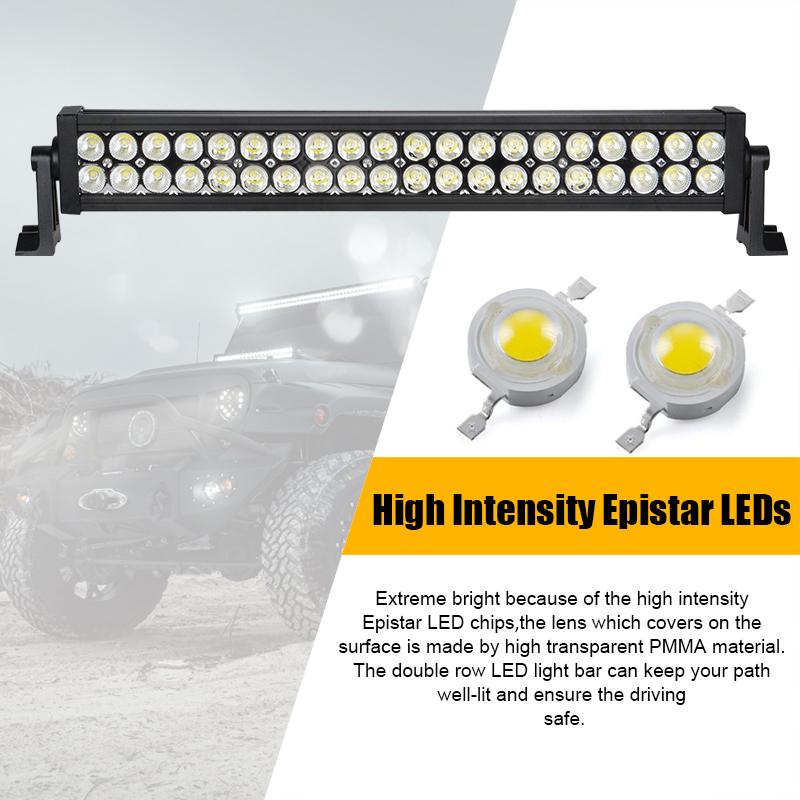 Racbox 22 inch 120w offroad led work light bar driving lamp white racbox 22 inch 120w offroad led work light bar driving lamp white 9600lm combo beam for 4x4 atv boat suv truck tractor suv light in light barwork light aloadofball Image collections