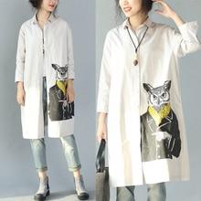 European Style schoolgirls Preppy Cartoon print Cotton shirts top quality women loose tops and shirts   sp563