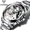 CADISEN Quartz Military Sport Watch Men Luxury Brand Casual Watches Men's Wristwatch army Clock men full steel relogio masculino