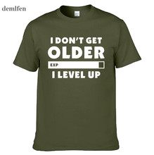 Moda I Don t Get Old I Level Up camiseta Gamers Gaming cumpleaños navidad  regalo hombres mujeres manga corta O camisetas de algo. ae87b80671b04