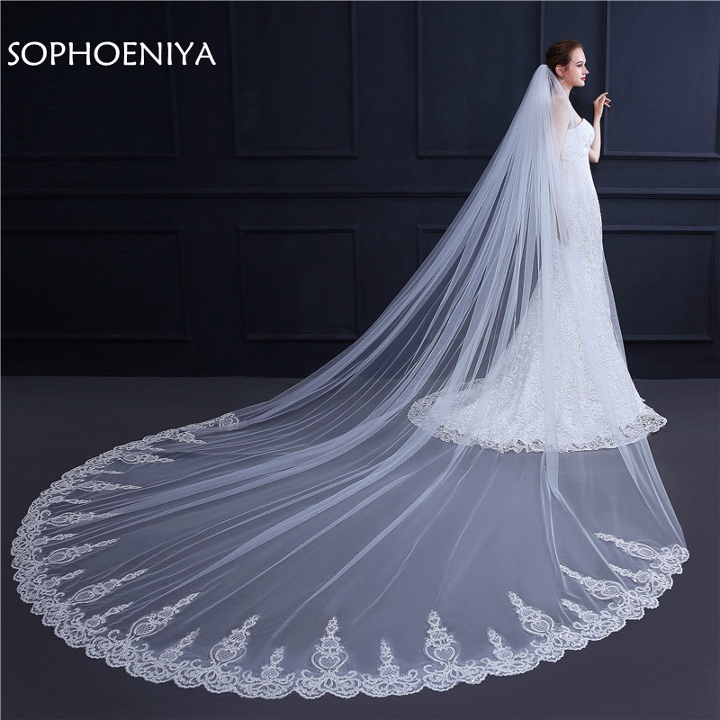 In stock 3 Meter White Ivory Wedding Veil Long Lace Edge Bridal Veil with Comb Wedding
