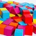 Venta al por mayor Del Bebé Bloques de Construcción de Juguetes 100 Unids Cuadrado Multicolor 1.9 cm Cubo Juguetes Educativos Bloques de Tamaño Pequeño Cerdo Lindo Bolsa regalo