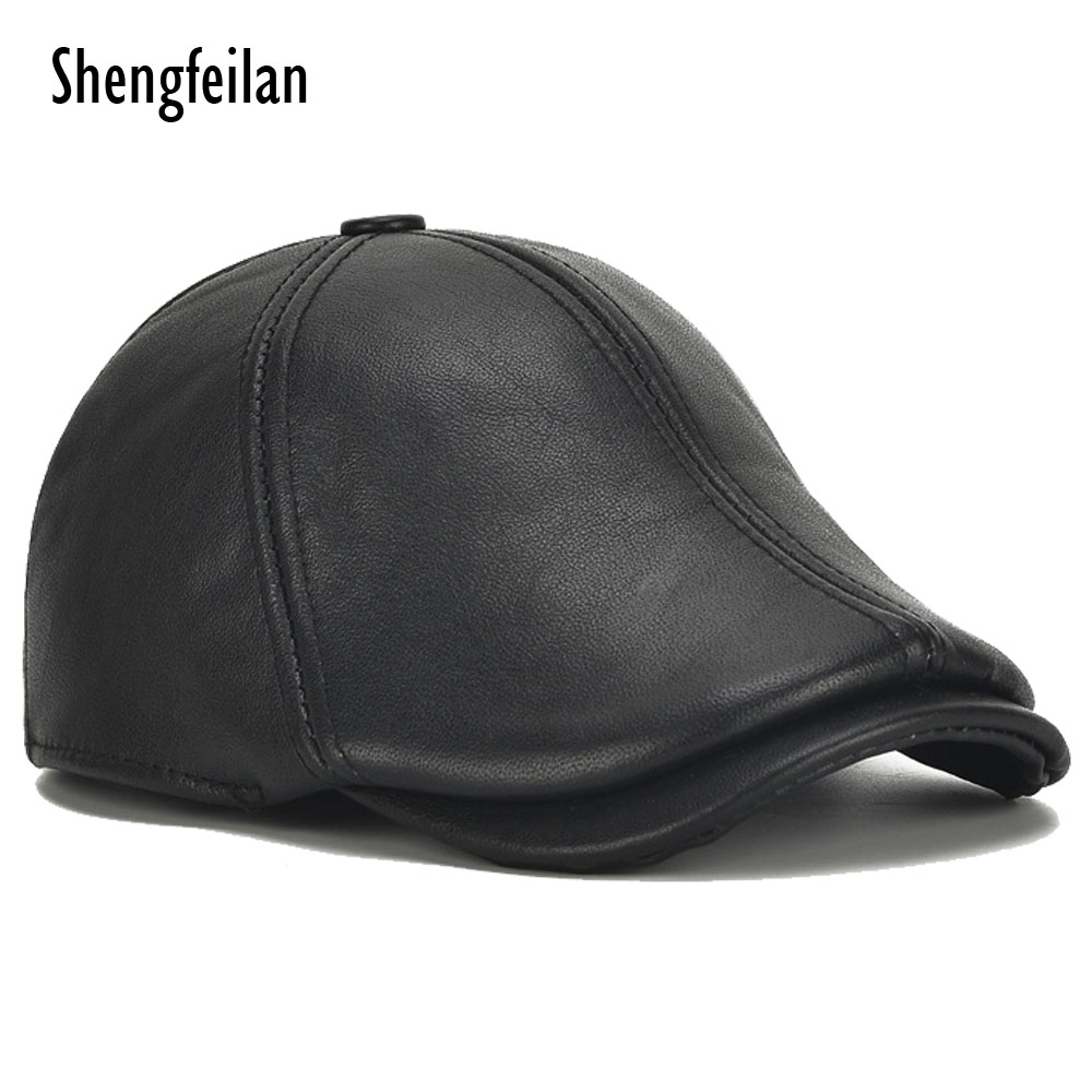 f126bc7fba836 High quality cowhide Hat Genuine Leather Cap Mens Baret Cowhide Flat Cap  Cabby Hat Vintage Newsboy Driving Peaked Cap