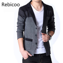 Spring New Men S Knitted Cardigan Male Korean Coat Slim Sweater Blazer Masculino