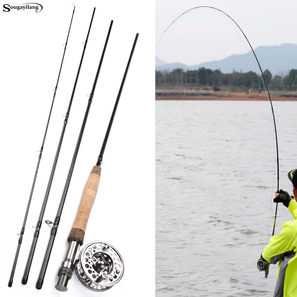 все цены на Sougayilang Fly Fishing Rod and Reel Combos Portable Freshwater Fly Fishing Full Metal 5/6 Fly Reels Set Trout Salmon Carp Pikes онлайн