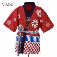 Viaoli Unisex Chef Jacket Women Men Coat Kimono Sushi Shop Restraurant Uniform Shirt Working Suit