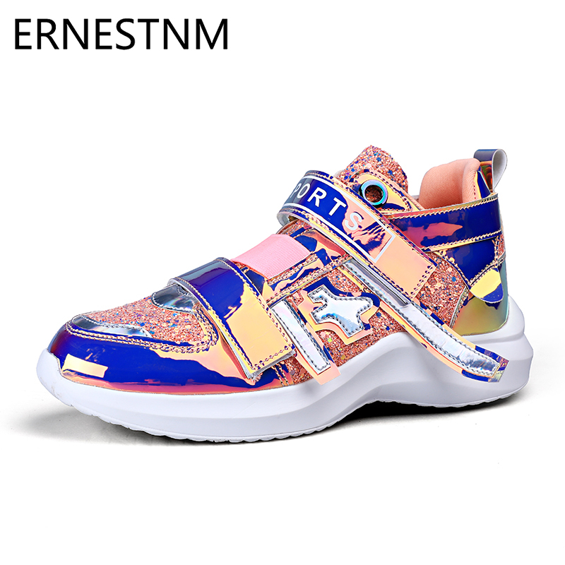 ERNESTNM 2019 Woman Chunky Sneakers Symphony Glitter Colorful Ladies Vulcanized Shoes Bling Autumn Spring Sneakers White Shoes