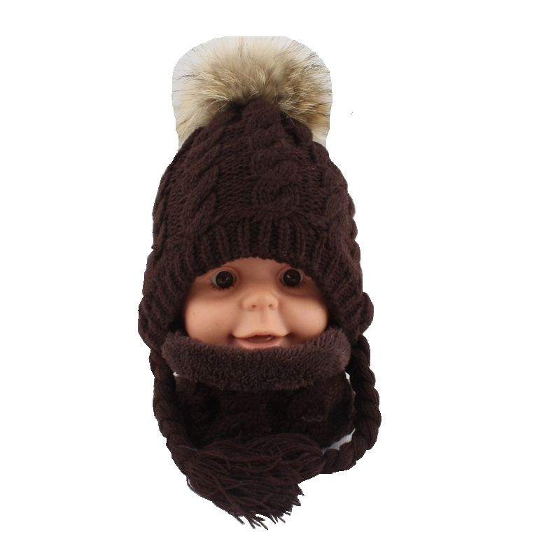 Girls Acrylic Thick Neck Rings And Bomber Hats Sets Children 15CM Raccoon Fur Pom Pom  LF5157