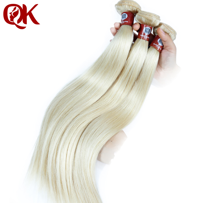 QueenKing Hair Brazilian Straight Hair Bundles Weave Platinum Blonde 60 Color Remy Human Hair Extensions 12