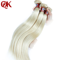 QueenKing Hair Brazilian Straight Hair Bundles Weave Platinum Blonde #60 Color Remy Human Hair Extensions 12 28 Inch
