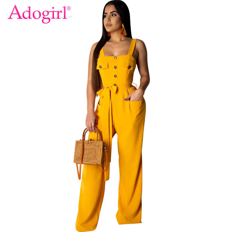 c6b6d1f8e1 Adogirl Solid Fashion Casual Loose Jumpsuit with Belt Buttons Pockets  Spaghetti Straps Romper Women Overalls Suspender