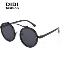 DIDI 2017 Vintage Round Steampunk Sunglasses Women Men Flat Top Metal Frame Circle Lens Eyewear Hippie