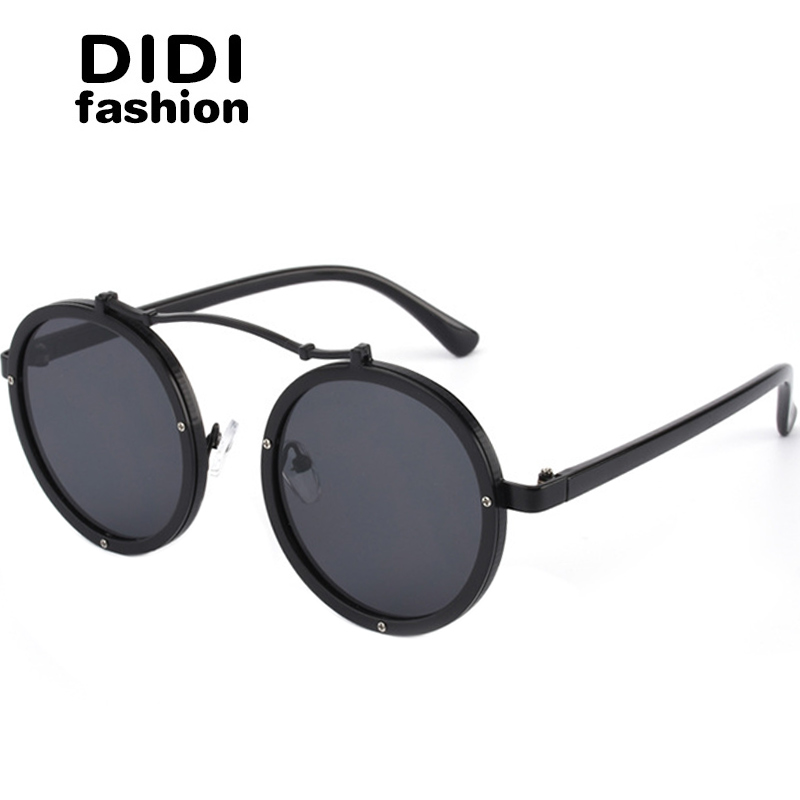 4cdcc028f4b Detail Feedback Questions about DIDI Round Steampunk Sunglasses Women Men  Flat Top Metal Frame Circle Lens Eyewear Hippie Glasses Lady Pink Shades  Lunette ...