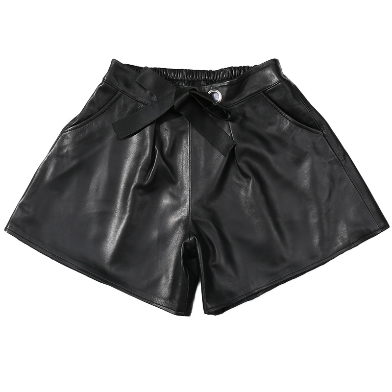 High Waist Leather Shorts Women 2018 Autumn Winter Genuine Leather Sheepskin Black Leather Casual Plus Size Shorts for Ladies