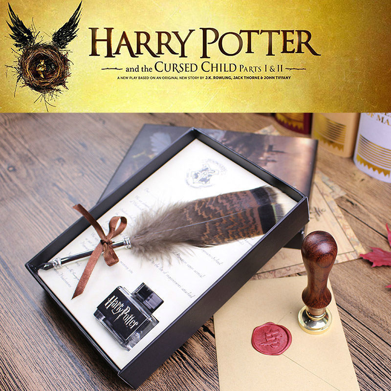 High Quality Harry Potter Feather Quill Calligraphy Pen Set Writing Ink Dip Pen With HP Sealing Wax Set And Diary For Fans Gift nicely wrapped individually sealing wax in a good condition sealing sticks with excellent quality