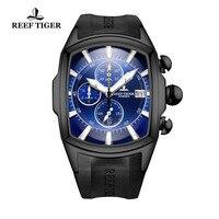 Riff Tiger/RT Top Marke Luxus Blau Große Sport Uhren für Männer Chronograph Wasserdichte Uhr Rubber Strap Uhr Datum RGA3069-T