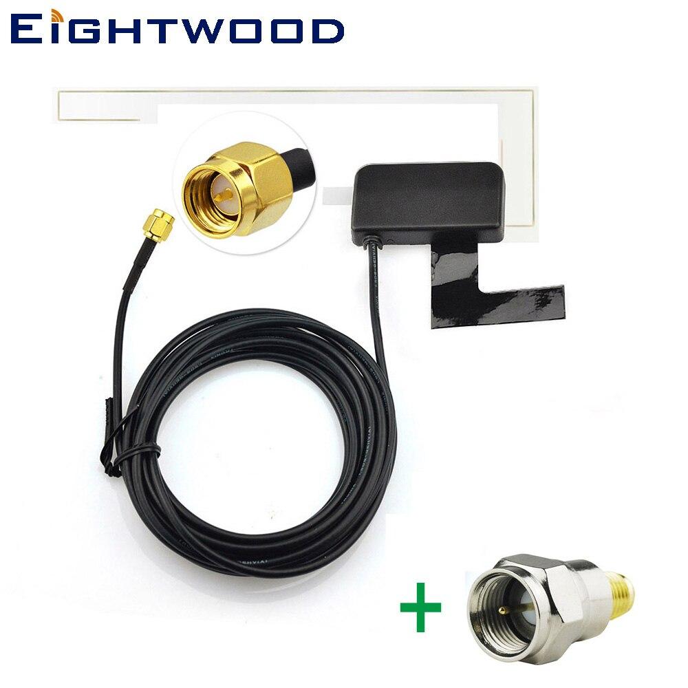 Eightwood Double Bande DAB/DAB + Voiture Radios Aérienne de Amplifié Interne Verre Montage et SMA à F Adaptateur pour AutoDAB Tous Les Modèles