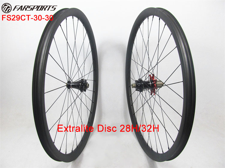 Only 1316g !! Extralite disc hubs with Sapim aero spoke, 29er Farsports MTB wheels 30mm with 28H front 32H rear , no outer holes brand new quando hubs 32h front