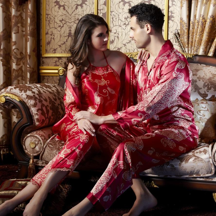 Brand New Women Silk Pyjamas Pajamas Sets Couples Red Sleepwear Bride Robe  Sexy backless Nightgown Men Ladies Pajamas Sets 8f6dc6d13