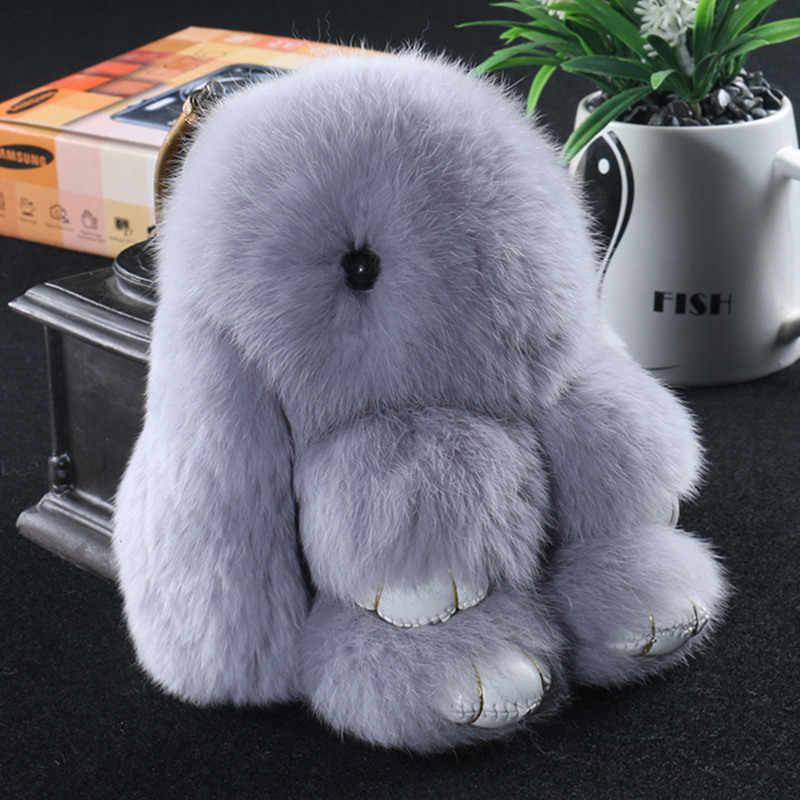 LLavero de conejo de 14 cm, llavero de piel de conejo auténtica Rex, para bolso de mujer, juguetes, muñeca, pompones esponjosos encantadora pompón llavero