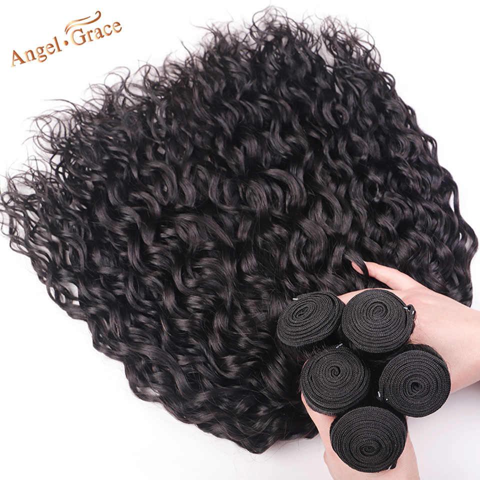 AngelGrace волосы волна воды пучки с закрытием Remy человеческие волосы 3 пучка с бразильские волосы с закрытием пучки переплетения с закрытием