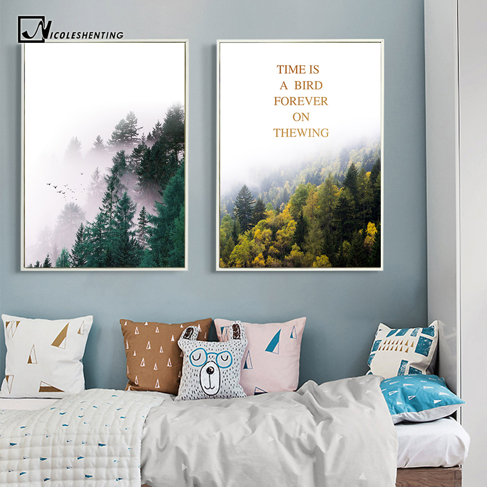 Nordic style forest trees nature poster print motivational for Minimalist wall painting