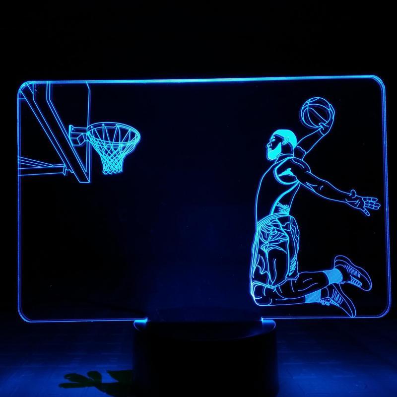 Lebron James LED Night Light Touch Sensor RBG Decorative Lamp Sport Child Kid Gift Basketball Table Lamp Bedroom James Slam Dunk