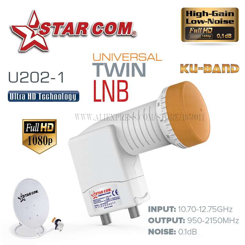 STAR COM 3602 Universal LNB For Satellite TV Receiver KU BAND TWIN LNB For Satellite TV BOX