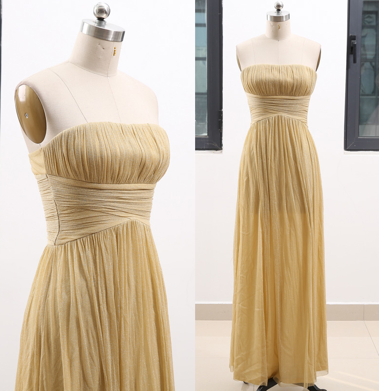 MACloth Gold A-Line Strapless Floor-Length Long Tulle   Prom     Dresses     Dress   S 262283 Clearance