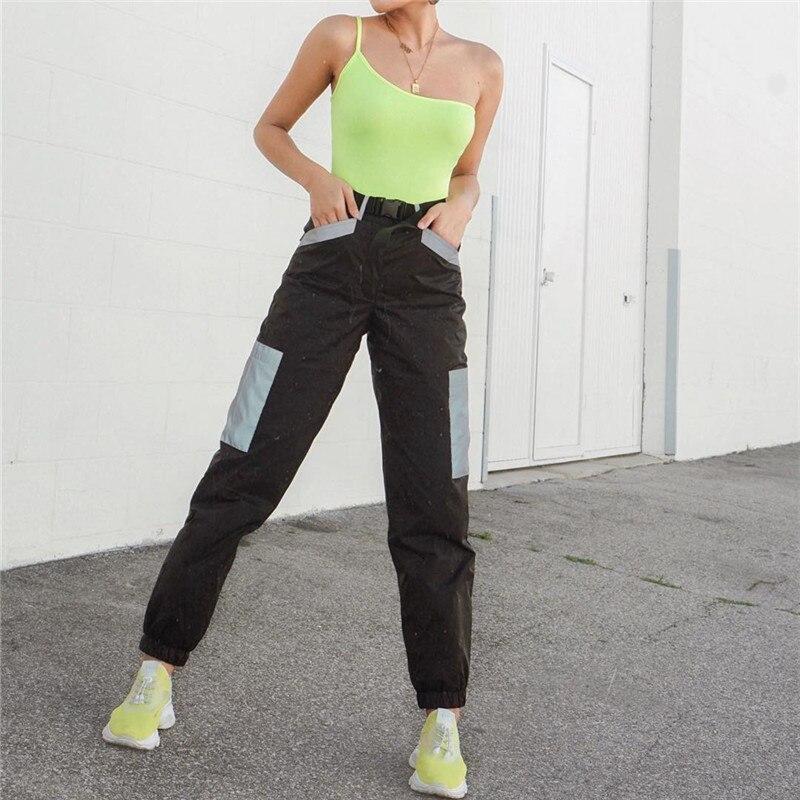 Houzhou Trousers Women Cargo Pants Reflective Patchwork Pants Famale Joggers Women 2019 Summer Streetwear Pantalon Female