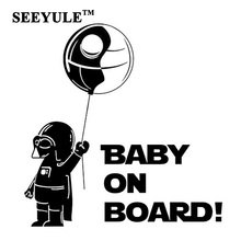 1pc SEEYULE Refective Car Sticker Baby on Board Cute Star Wars Jedi Car Styling Safety Warning