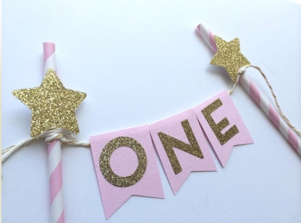 New Pink Gold Twinkle little star one Cake Topperhot Cake Party