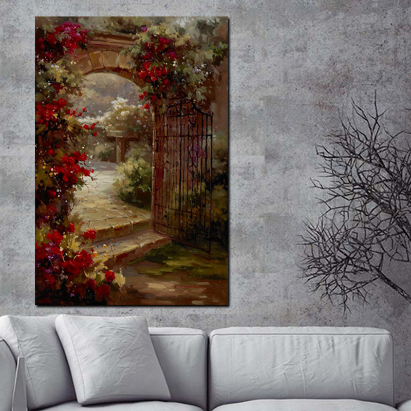 Abstract Pastoral House Flowers Door Landscape Oil Painting HD Print on Canvas Garden Poster Wall Art Picture for Livinng Room (3)
