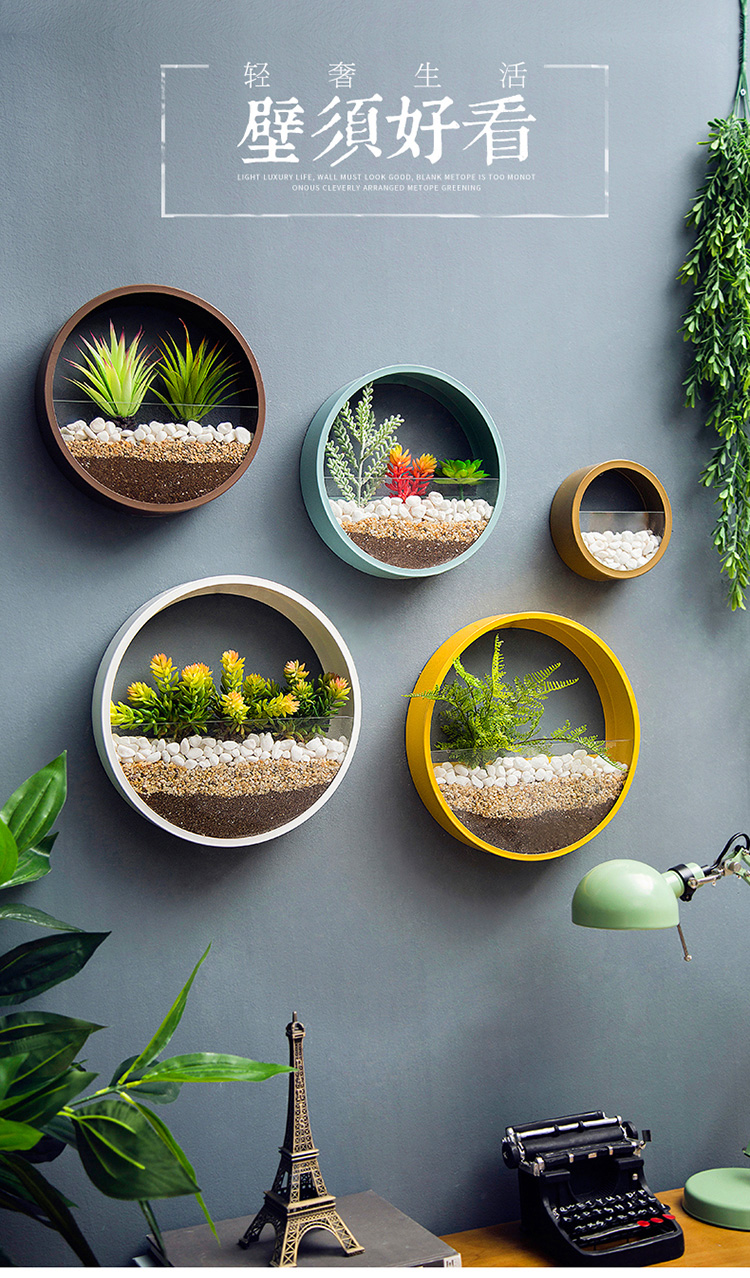 cesta forma redonda cor sólida parede plantador