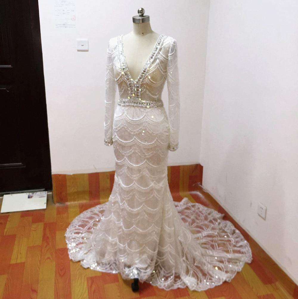 Mermaid bröllopsklänningar 2017 spets brudklänning långärmade - Bröllopsklänningar - Foto 2
