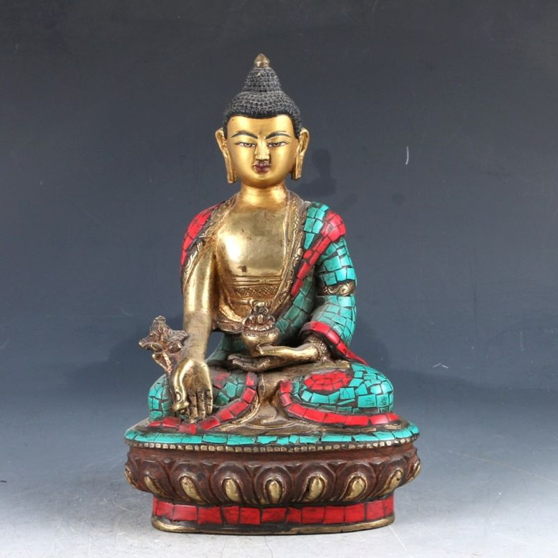 Chinese copper Turquoise Enamel Color Whiteness StatueChinese copper Turquoise Enamel Color Whiteness Statue