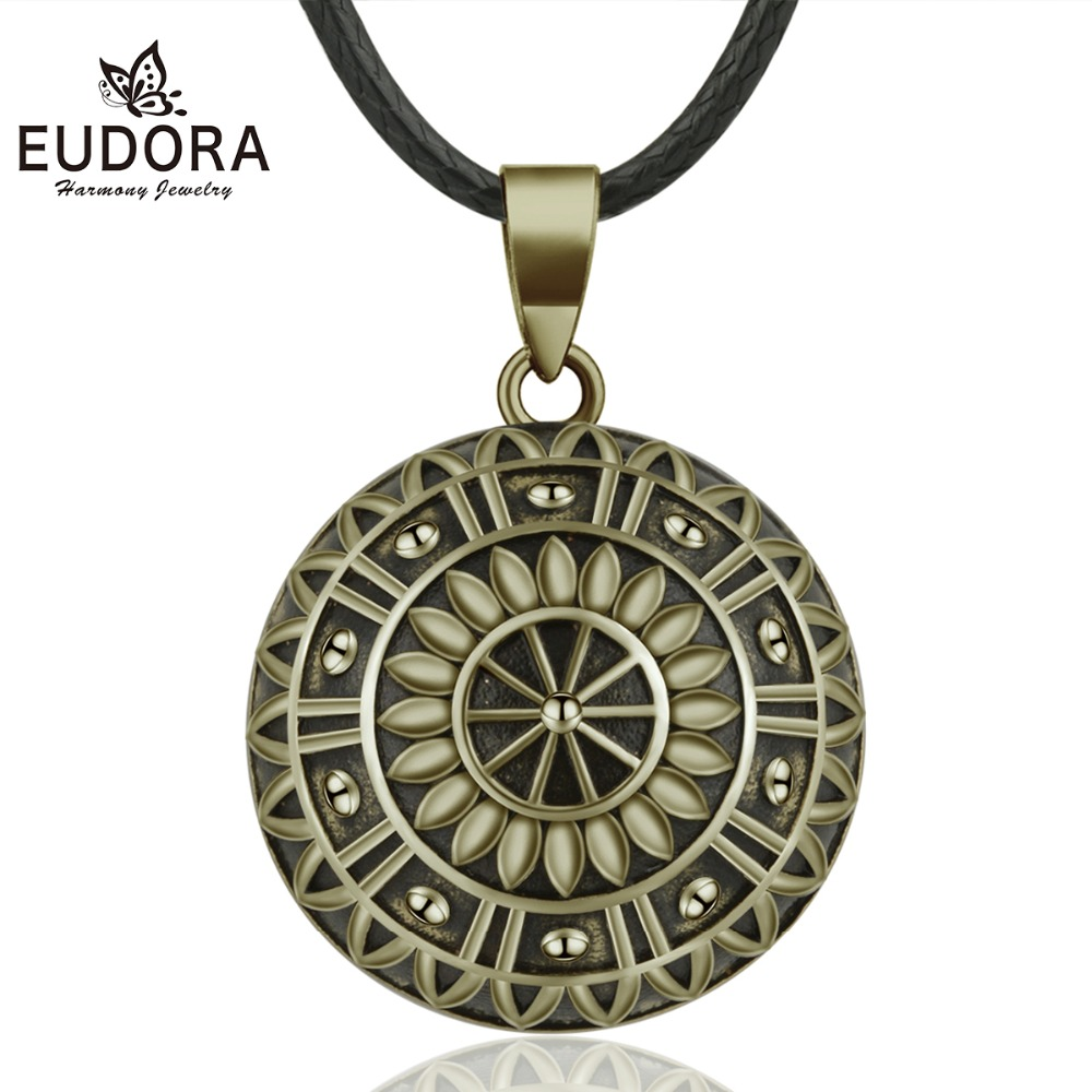 Eudora 20mm Copper Gorgeous Daisy Mexican Bell Harmony Bola Ball Pendant Necklace for Pregnancy Women Vintage fine Jewelry B336