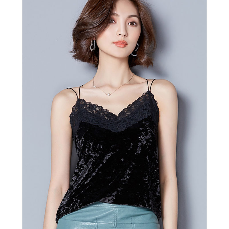 Crop Top Clothes black lace top Womens crop tops women 2018 Silk Women Shirt Camis Sleeveless Blusa Feminina Cropped