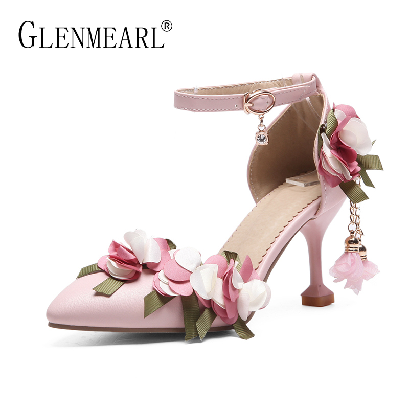 Brand Shoes High Heels Women Pumps Flower Thin Heels Ankle Strap Woman Wedding Shoes Spring Pointed Toe Large Size Shoes Lady DI bowknot pointed toe women pumps flock leather woman thin high heels wedding shoes 2017 new fashion shoes plus size 41 42