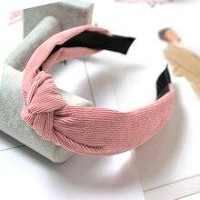 Autumn Winter Vintage Corduroy Headband Knotted Hairband Hair Accessories for Women 2019 New Headwear