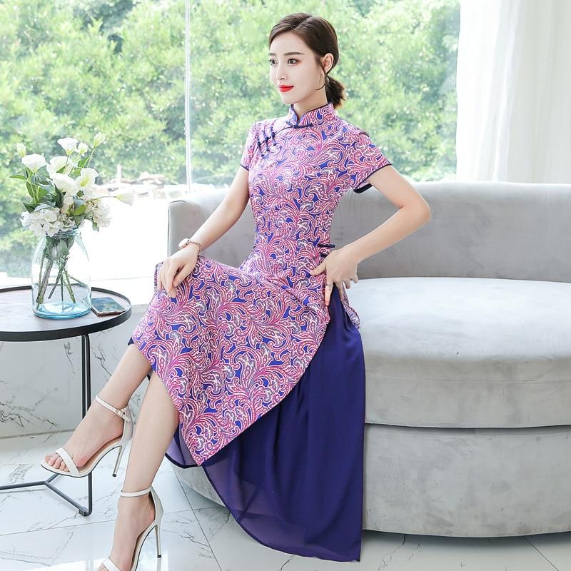 2019 Ao Dai Vietnam Style Ao Dai Vintage Ethnic Aodai Short Sleeve Qipao Women Silk Long Aodai Dress For Party Flower Print