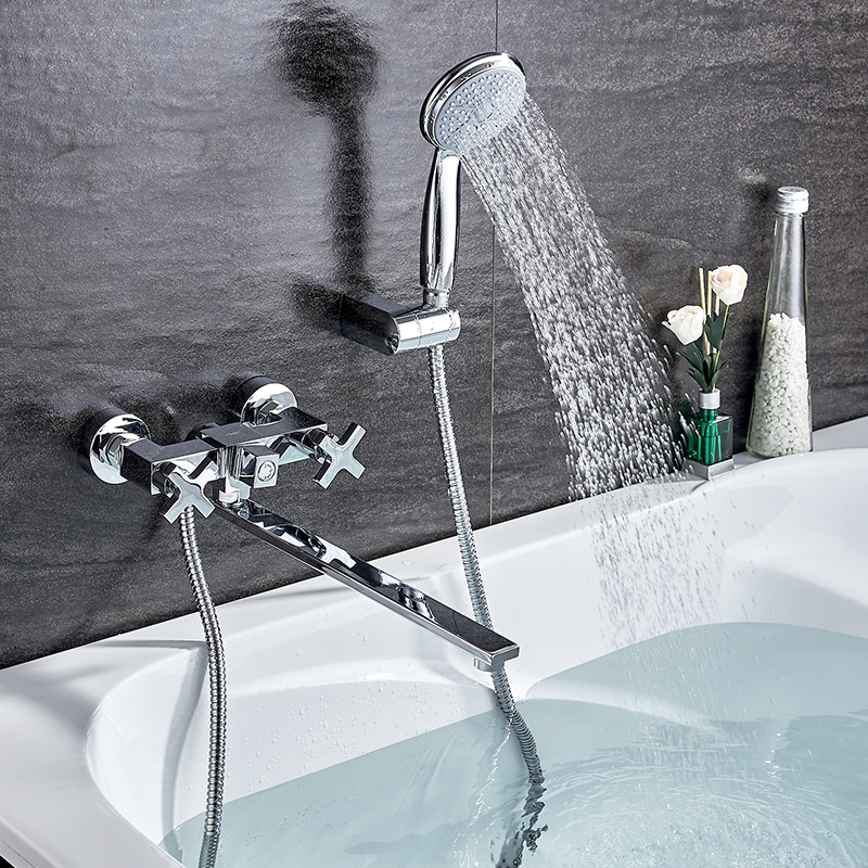 LEDEME  Bathroom Faucet Chrome Finish New Wall Mounted Waterfall Bathroom Bathtub Handheld Shower Tap Mixer Faucet L2584 new chrome finish wall mounted bathroom shower faucet dual handle bathtub mixer tap with ceramic handheld shower head wtf931