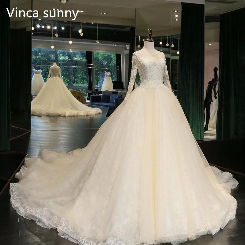 Real Photo Ball Gown Abito Da Sposa 2018 Sposa Abiti formato su ordinazione e colore abiti da noiva Manica Lunga robe de mariage