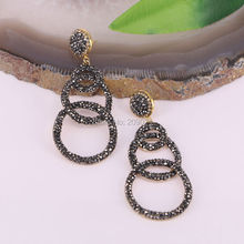Finding ~ 4Pair Pave Rhinestone Round Shape Charms Dangle Earrings For Women